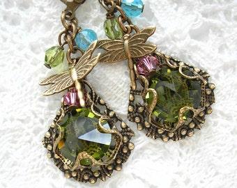 Enchanted Forest Earrings - Olivine Glass Earrings in Antiqued Brass