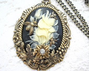 Busy Bees Floral Cameo Pendant - Victorian Style Pendant Ivory on Black