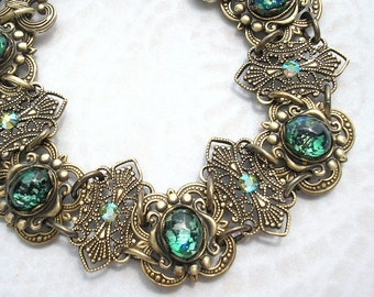 Celtic Rainforest - Emerald Green Glass Opal Antiqued Brass Bracelet