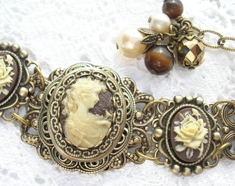 Victorian Style Ivory Maiden Cameo Bracelet Antiqued Brass