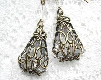 Dew Kissed Earrings - Filigree Wrapped Crystal Clear Czech Glass Jewel