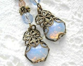 Sierra Sunrise Blue Glass Opal Earrings