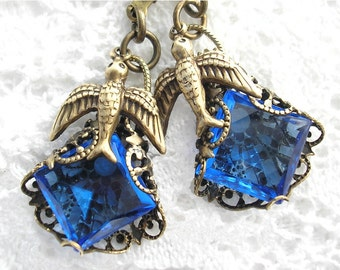 Skyward - Sparrow Filigree-Wrapped Vintage Sapphire Glass Earrings