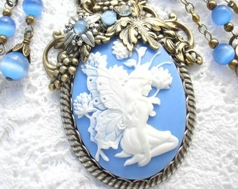 Cornflower Blue - Victorian Style Fairy Cameo Necklace Set