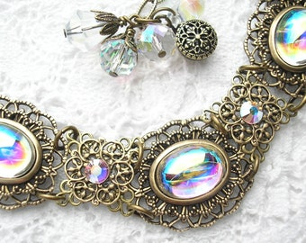 Crystal Bubbles - Crystal Aurora Borealis Bracelet - Brass Filigree Bracelet