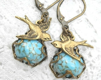 Turquoise Matrix and Brass Sparrow Earrings