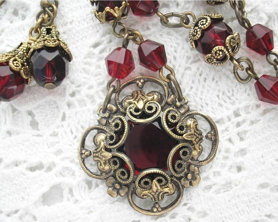 Scarlet Roses - Red Garnet Glass and Brass Vintage Style Necklace and Earring Set