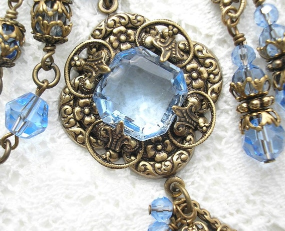 Summertime Blues - Sapphire Blue Glass and Antiqued Brass Necklace Set