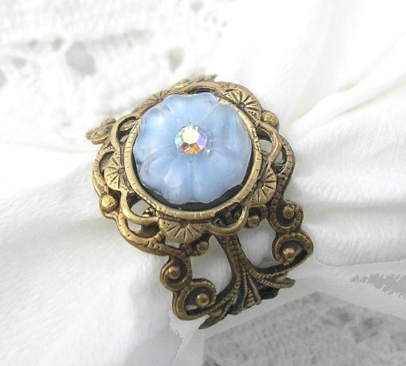 Morning Glory Ring - Sapphire Blue Vintage Glass Flower