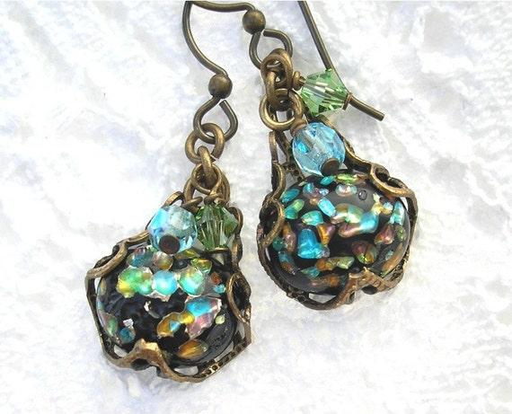Vintage Aqua Blue and Green Glass Opal Earrings