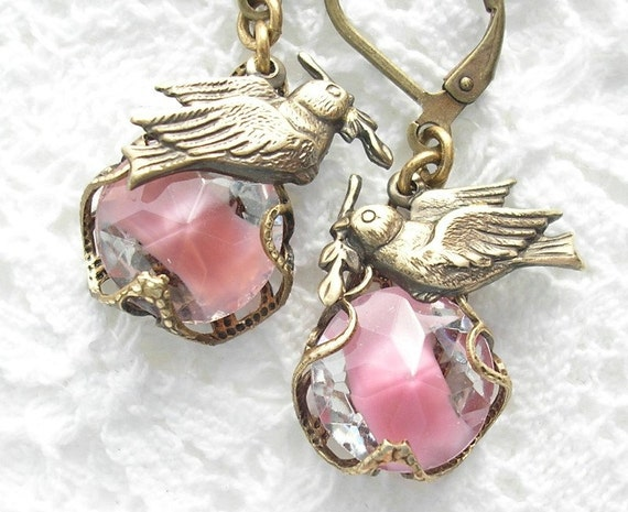 Doves and Roses Filigree Wrapped Earrings
