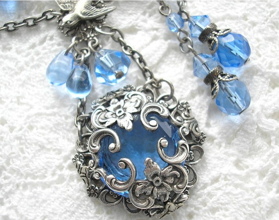 Into The Blue - Sapphire Glass Necklace Set in Antiqued Silver