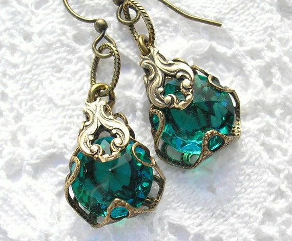 Far-Away Waters - Filigree Wrapped Teal Glass Earrings