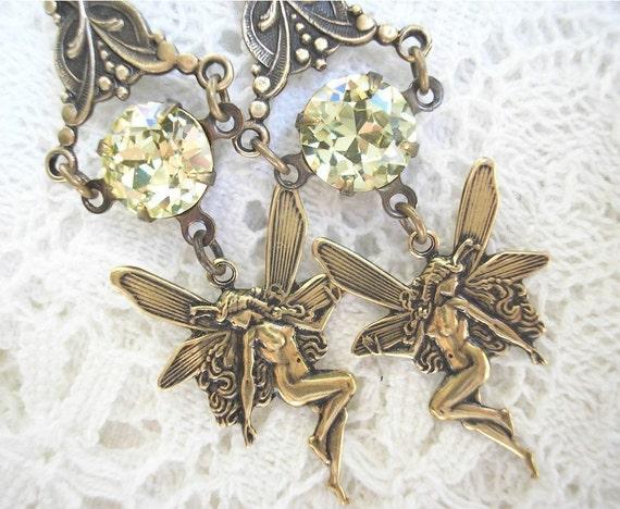 Dancing Faeries - Antique glass jewel earrings