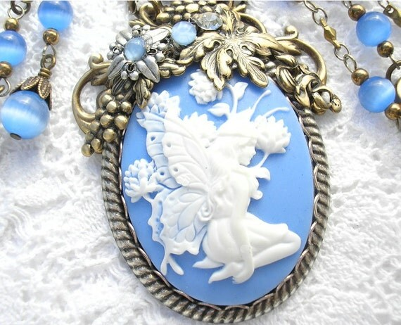 Cornflower Blue - Victorian Style Fairy Cameo Necklace Set
