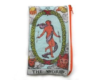 THE WORLD Tarot Card Makeup Bag