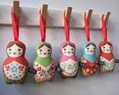 Sale - Red and beige Russian Doll - Lavender Matryoshka hangy thingy