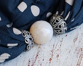 Reserved for kp257201  Blue and gray polka dots scarf necklace with a faceted natural stone by Sashetta