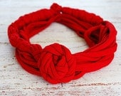 Red scarf necklace by Sashetta