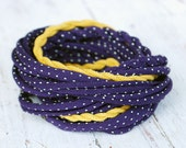 Purple with white polka dots and yellow mustard  necklace
