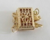 14K Gold Filled Filigree 3 Strand Box Clasp