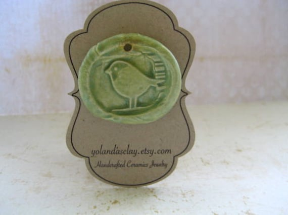Spring Window Bird Pendant from Earthenware Clay