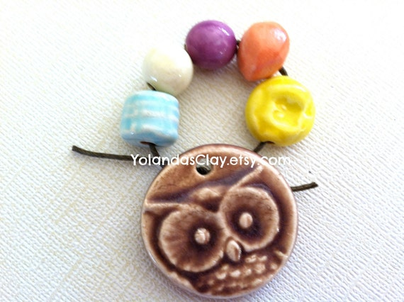 Owl Pendant with Colorful Beads of Clay Ceramic Bead Art