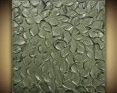 ORIGINAL Abstract Painting- Metallic GREEN-Grey Painting, Modern Home Decor Wall Art, large palette knife textured art Mix&Match by Susanna