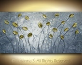 ORIGINAL Large Abstract Contemporary Fine Art Gray Gold Tulips Flowers Palette Knife Impasto Landscape Painting by Susanna 48x24