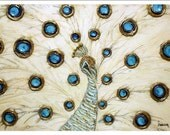 White Blue Gold peacock contemporary abstract modern Fine Art PRINT 13x19