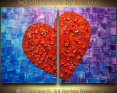 original abstract red broken heart contemporary gallery fine art- blue purple thick texture painting by susanna ready to hang canvas 36x24