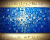 Original Large Abstract Fine Art on Canvas Textured Blue Modern Palette Knife Painting Ready to Hang 48x24 by Susanna
