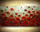 ORIGINAL Large Abstract Olive Brown Red Poppies Impasto Landscape Oil Painting by Modern House Art 48x24 Ready to Hang