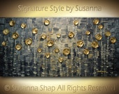 Original Large Abstract Contemporary Fine Art Blue Grey Gold Thick Texture Modern Palette Knife Painting by Susanna 48x24