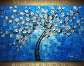 ORIGINAL Large Abstract  Blue Silver Tree Painting Impasto Landscape Thick Texture Modern Palette Knife art by Susanna Ready to Hang 36x24