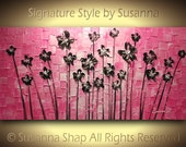 ORIGINAL Large Abstract Contemporary Hot Pink Black Flowers Landscape Heavy Texured Painting by Susanna Modern House Art 48x24 Made2Order