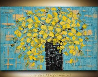 ORIGINAL Contemporary Floral Blue Yellow Flower Bouquet Palette Knife Oil Painting by Susanna