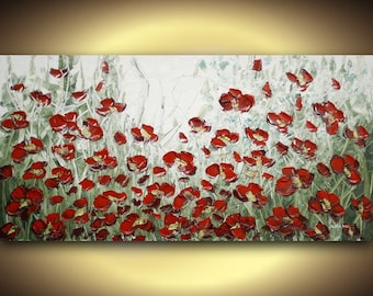 ORIGINAL Abstract painting Flowers Impasto LANDSCAPE Modern palette knife oil on canvas