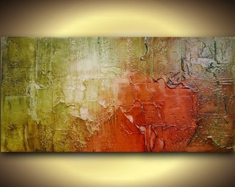 ORIGINAL Large abstract contemporary fine art textured modern palette knife painting green red brown 48x24 Made2Order