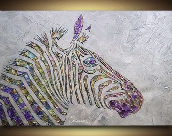 Original large abstract contemporary zebra painting metallic silver multicolor palette knife impasto fine art by Susanna 36x24 Made to Order