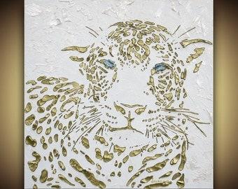 ORIGINAL Art Cat Painting Leopard Cat Art Panther Animal Art white gold Animal Painting palette knife fine art textured canvas by susanna
