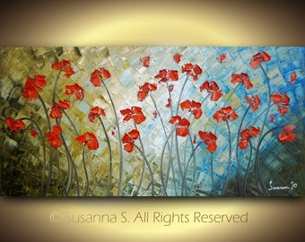 ORIGINAL Large Abstract Flowers Impasto LANDSCAPE painting Red Poppies Modern palette knife oil on canvas Fine Art by Susanna 48x24