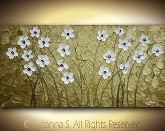 ORIGINAL Large Abstract Contemporary Fine Art White Flowers on Gold Impasto Floral Landscape Modern Palette Knife Painting by Susanna 48x24
