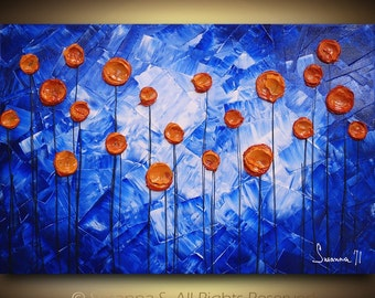 ORIGINAL Abstract Contemporary Fine Art- Blue Orange Impasto Textured Modern Palette Knife Painting by Susanna 36x24