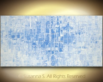 ORIGINAL Large Abstract Contemporary Fine Art Blue White Modern Textured Palette Knife Impasto Oil Painting 48x24