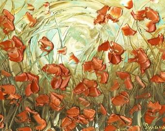 Floral Giclee PRINT Orange Poppy Landscape Abstract Impressionist Flower Aqua Amber Home Decor Wall Art on Gallery Wrap Canvas Susanna