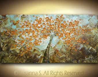 ORIGINAL Large Abstract Contemporary Fine Art Impasto Amber Flowers Tree Landscape Modern Palette Knife Painting Susanna 48x24 Made to Order