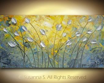 ORIGINAL Large Abstract Impasto Landscape Silver Tulip Modern Palette Knife Painting Orange Gray Blue Contemporary Fine Art by Susanna 48x24