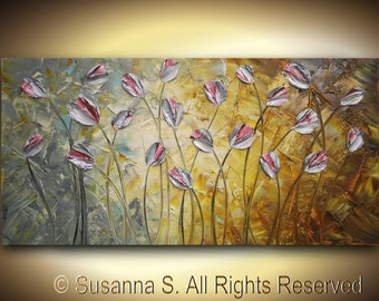 ORIGINAL Large Abstract Impasto Landscape Tulips Modern Palette Knife Painting - Orange Gray Blue-Contemporary Fine Art by Susanna 48x24