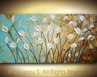 ORIGINAL Large Abstract Contemporary Fine Art- Impasto White Tulips Landscape Modern Palette Knife Painting by Susanna 48x24